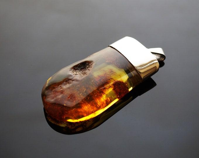 21g Huge Baltic Amber Pendant, Natural Amber Pendant, Yellow/Cognac Amber, Handmade Pendant