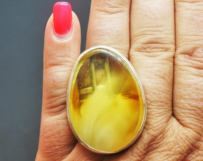 20,4g.Large Baltic Amber Ring, Butterscotch Amber Ring, Oversized Ring, Yellow Amber Ring,Natural Amber, Organic Amber Ring