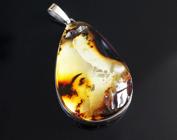 37,3g Huge Baltic Amber Pendant, Natural Amber Pendant, Yellow Amber, Handmade Pendant