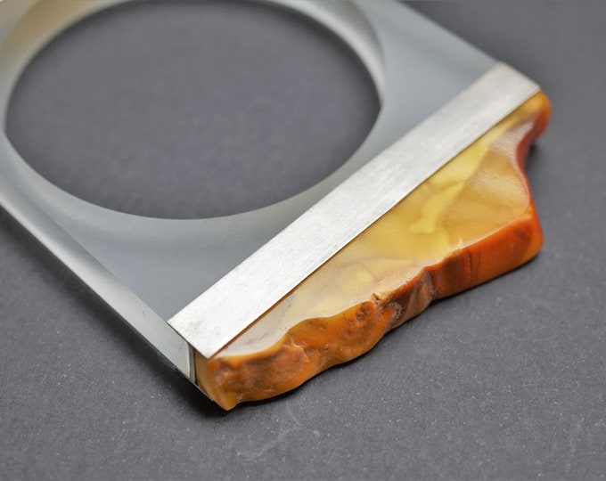 103g. Baltic Amber Bracelet, E.Salwierz Design, Honey Amber, Unique, Butterscotch Amber, Modern Design Bracelet, Plexiglass Sterling Silver