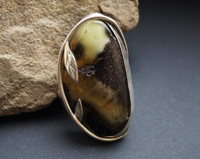 32,7g. Large Baltic Amber Sterling Silver Ring, Inclusion Amber, White/Yellow/Greenish Amber
