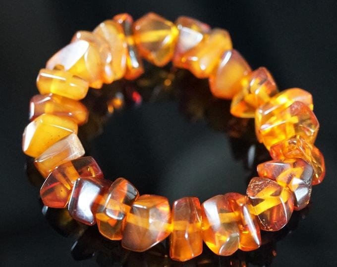 17,9g. Natural Baltic Amber Bracelet, Not Pressed, Sunny Jewellery, Honey Amber,Genuine Amber