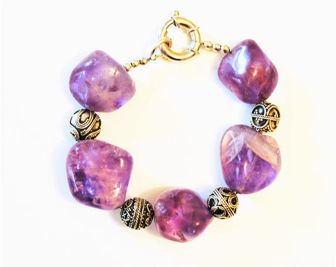 Handmade Sterling Silver Amethyst  Bracelet Charms