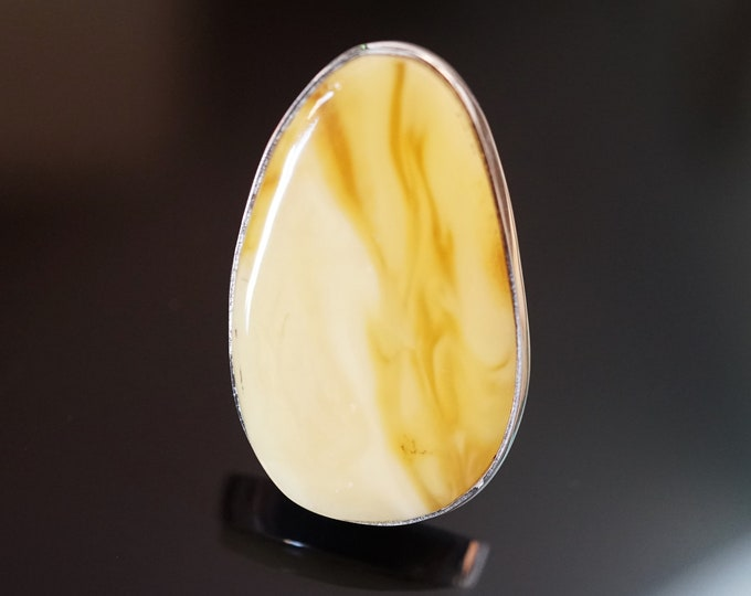 14g. Marble Butterscotch  Baltic Amber Ring, Yellow Amber Ring,Natural Amber