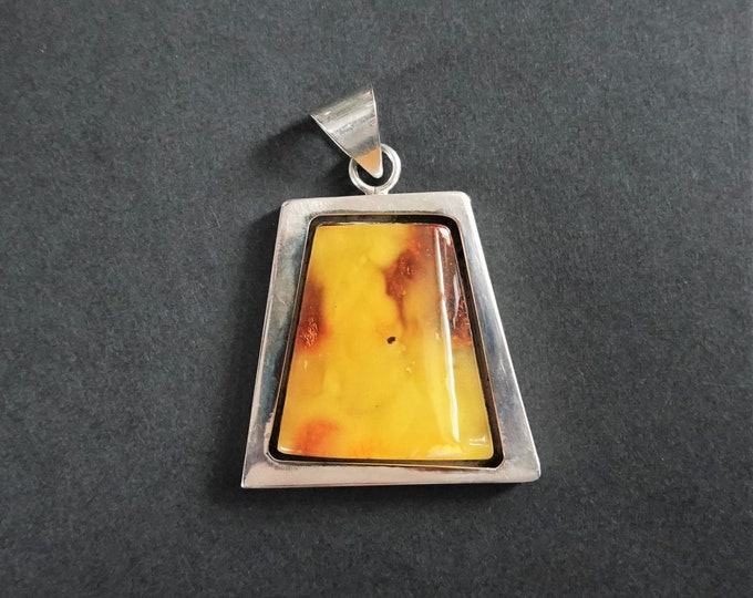 21g Baltic Amber Sterling Silver Pendant/Necklace, Yellow Amber Pendant, Butterscotch Amber