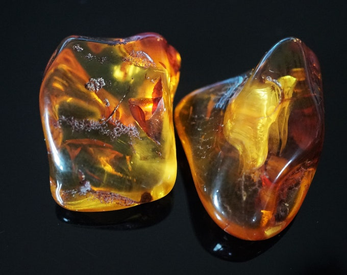 22g. Two Yellow Cognac Baltic Amber Stone, Genuine Baltic Amber, Collectors Amber