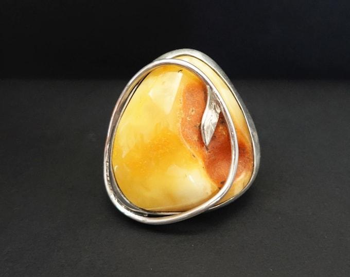 28,5g.Large Baltic Amber Ring, Butterscotch Amber Ring, Oversized Ring, Yellow Amber Ring,Natural Amber, Organic Amber Ring