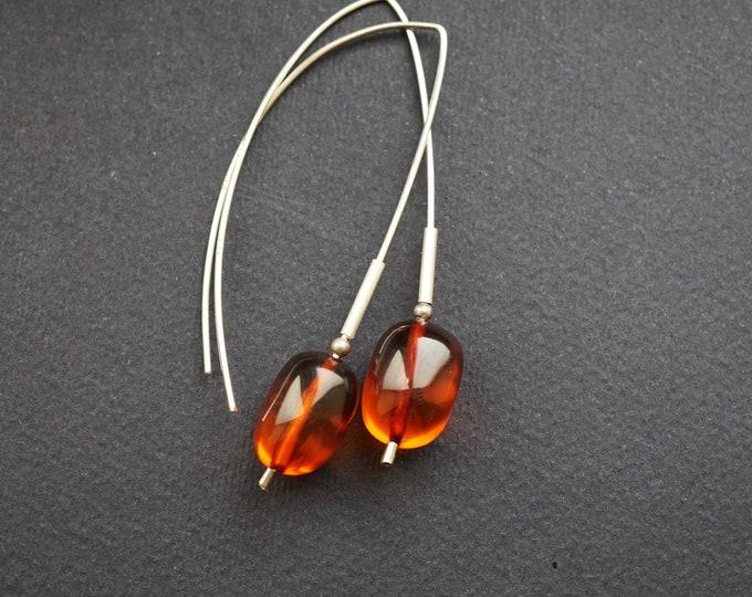 4,7g. Handmade Amber Long Earrings