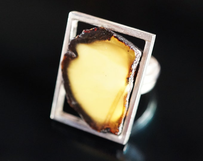 10g White Butterscotch  Baltic Amber Ring, Sterling Silver