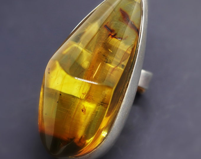 28,8g. Large Baltic Amber Sterling Silver Ring, Yellow Amber Ringe, Oversized Ring.