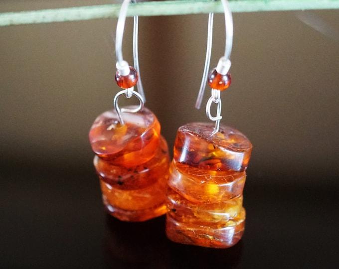 5,9g. Cognac Baltic Amber Sterling Silver Earrings, Disc Baltic Amber Earrings