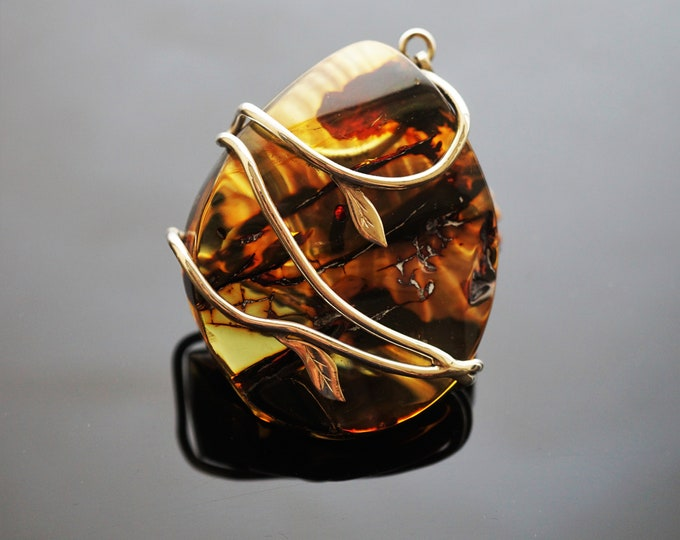 48,4g Huge Baltic Amber Pendant, Natural Amber Pendant, Greenish Amber, Handmade Pendant