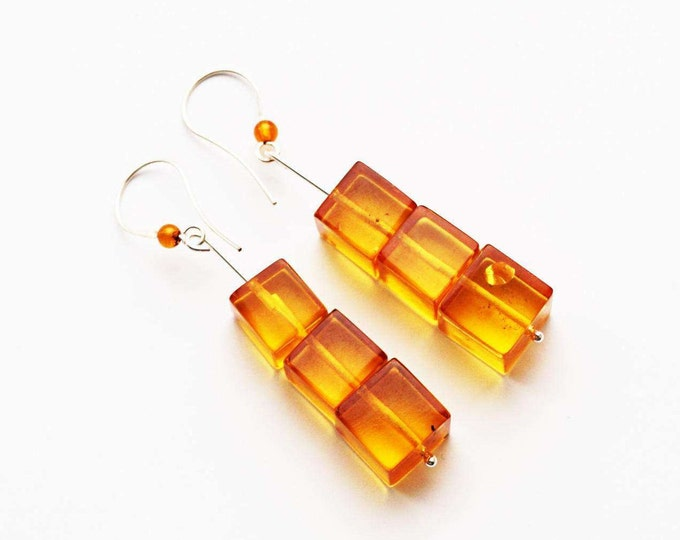 9,3g. Natural Baltic Amber Earrings, Not pressed Amber