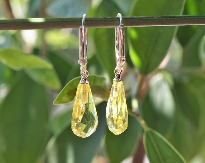 2,4g. Drop Amber, Yellow Lemon Baltic Amber Earrings, Dangle Amber Earrings, Genuine Amber, Not Modified Amber