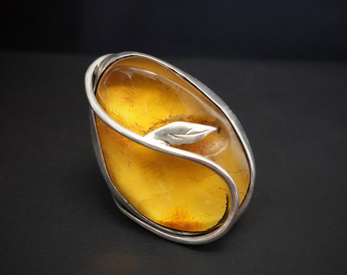 22g.Large Baltic Amber Ring, Yellow Amber Ring, Oversized Ring,Natural Amber, Organic Amber Ring