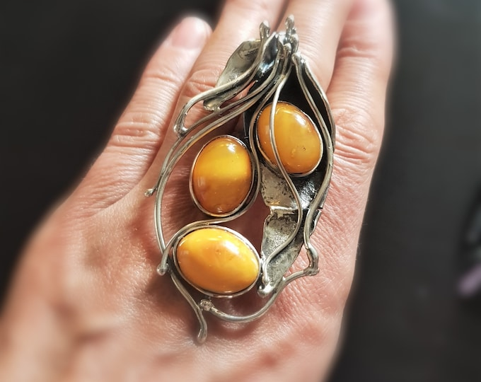 26,4g. Unique Baltic Amber Ring, Artistic Butterscotch Amber Ring, Genuine Amber, Sterling Silver, Jewelry Art