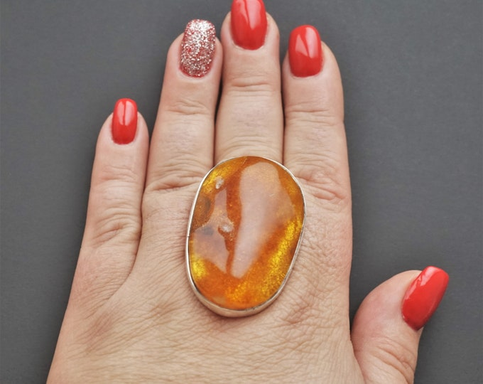 24,2g. Baltic Amber Ring, Honey Amber, Egg Yolk Amber Ring, Large Amber Ring, Gift