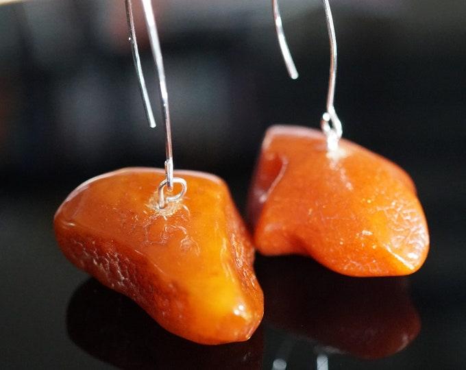 13,4g. Old Butterscotch Dark Honey Baltic Amber Earrings, Antique Baltic Amber, Huge Earrings