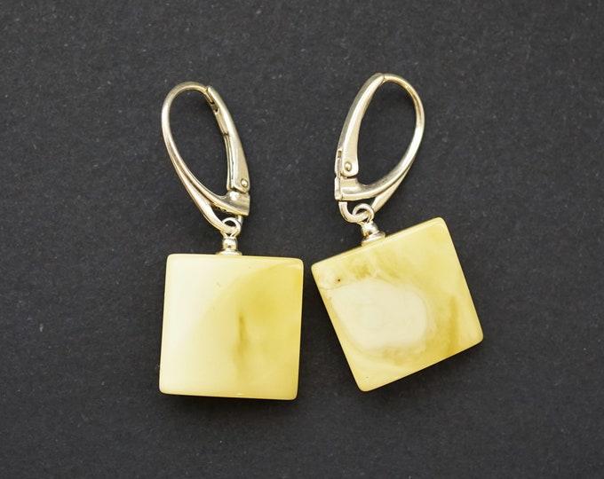 5g Natural Baltic Amber Earrings , White Amber Earrings