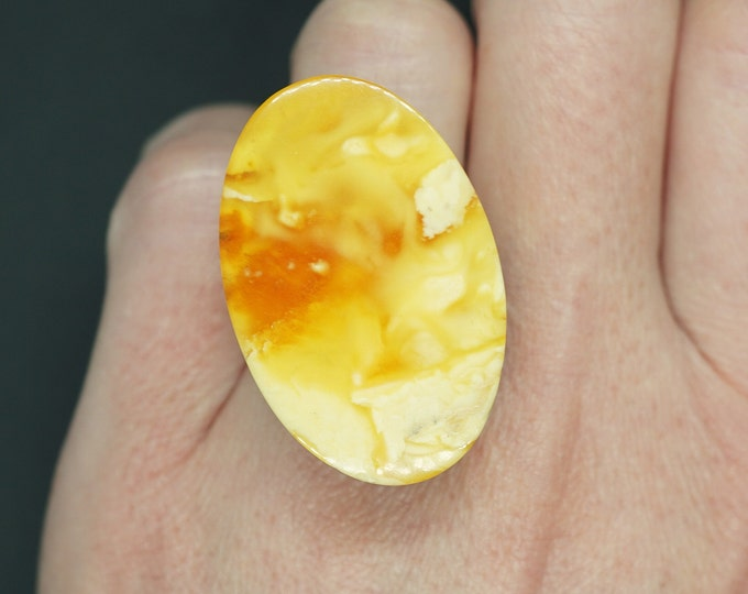 7,5g. Butterscotch  White Baltic Amber Ring, Yellow Amber Ring,Natural Amber