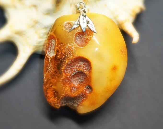 31,4g Butterscotch Baltic Amber Pendant, Sterling Silver Baltic Amber Pendant, Natural Amber Pendant, Genuine Amber
