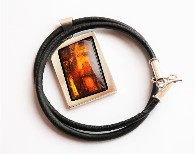 37g Baltic Amber Sterling Silver Pendant/Necklace