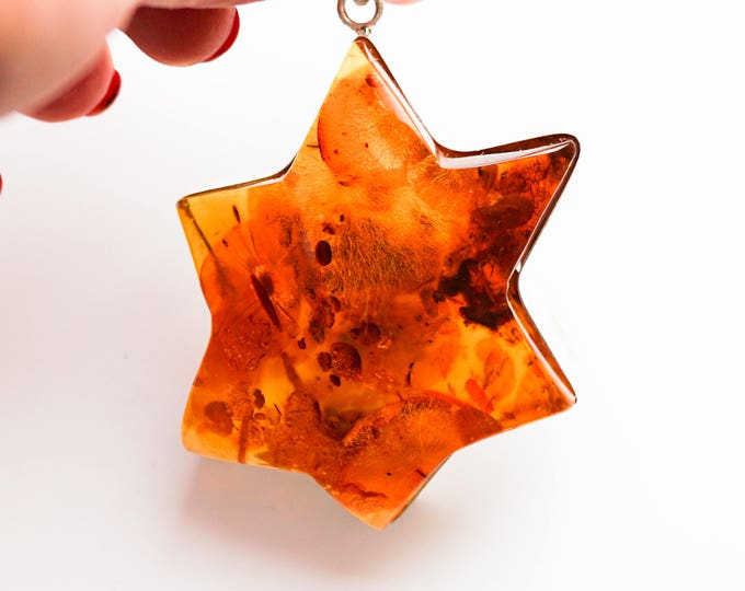 59g Huge Baltic Amber Pendant Star, Cognac Amber, Large Pendant/ Necklace