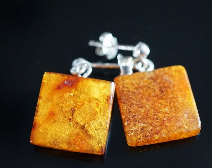 Butterscotch Honey Natural Baltic Amber Stud Earrings, Square Earrings