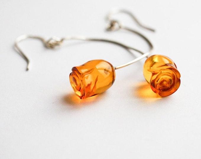 Baltic Amber Long Earrings, Rose Amber