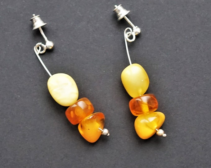 3,4g. Antique Amber Stud Earrings, Natural Baltic Amber Earrings, Butter Honey Earrings, Bead Earrings, Birthday Gift