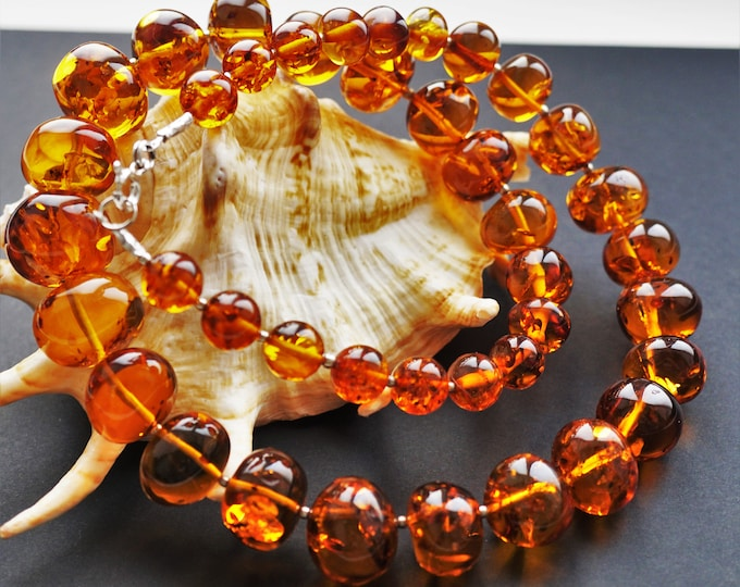 60,4g. Genuine Natural Baltic Amber Necklace- Amber Balls, Cognac Amber, Not Pressed