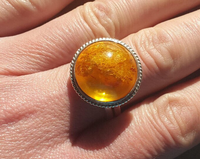 Baltic amber silver ring vintage