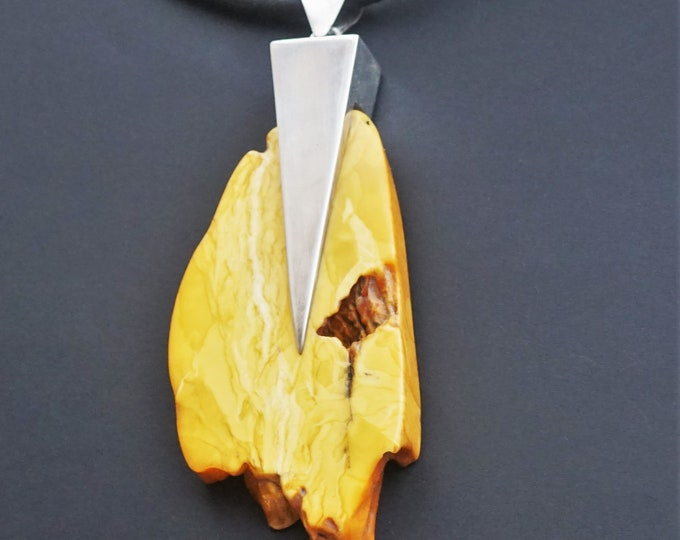 74g White, Butterscotch Natural Amber Pendant, Artistic Amber Pendant, Classy Pendant,Unique Amber Pendant, Necklace