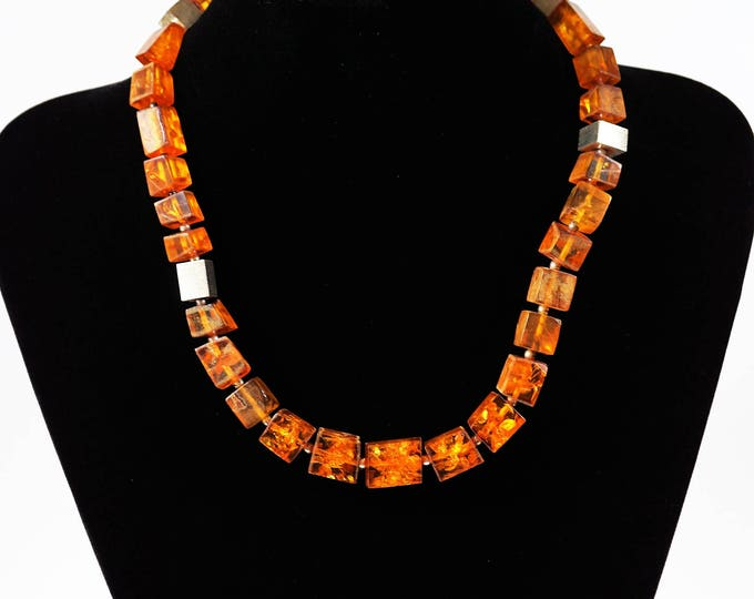 36g.Baltic Amber Necklace, Cognac Amber, Cube Amber Necklace, Not Pressed