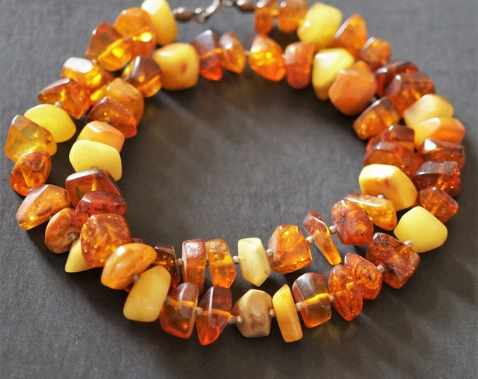 25g Long Multicolour Baltic Amber Neclace, Genuine Amber Necklace