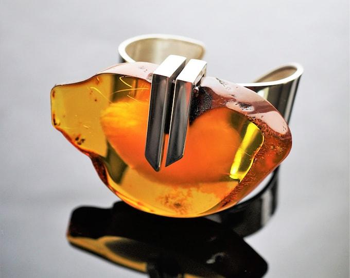 103g. Baltic Amber Bracelet, E.Salwierz Design, Honey Amber, Unique Gift , Butterscotch Amber, Modern Design Bracelet