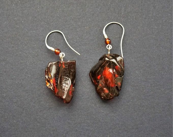 6g. Cherry Baltic AMber Earrings, Dangle Amber Earrings, Genuine Amber