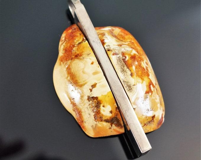 31g. Butterscotch Marble Baltic Amber Pendant, E. Salwierz Design Pendant