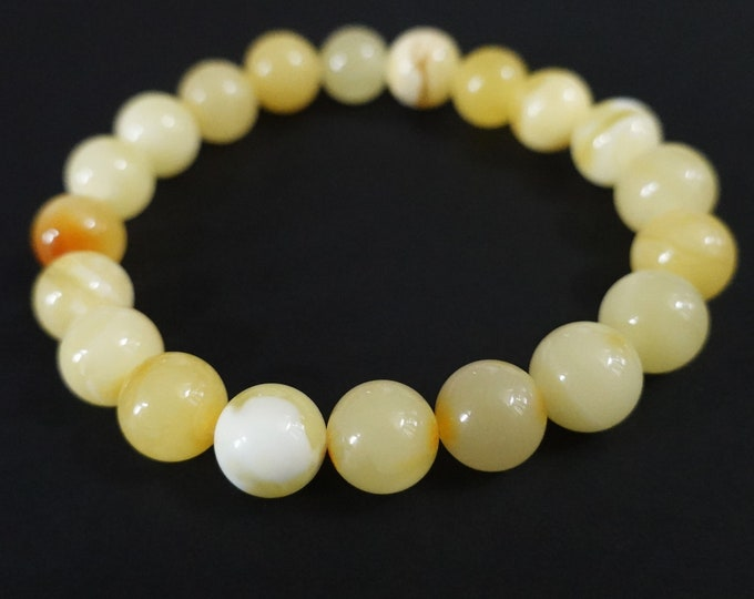 10.3g.White/Yellow Baltic Amber Bracelet, Genuine Amber Bracelet, 10mm Beaded Bracelet, Untreated Amber, Organic, Natural, 10mm
