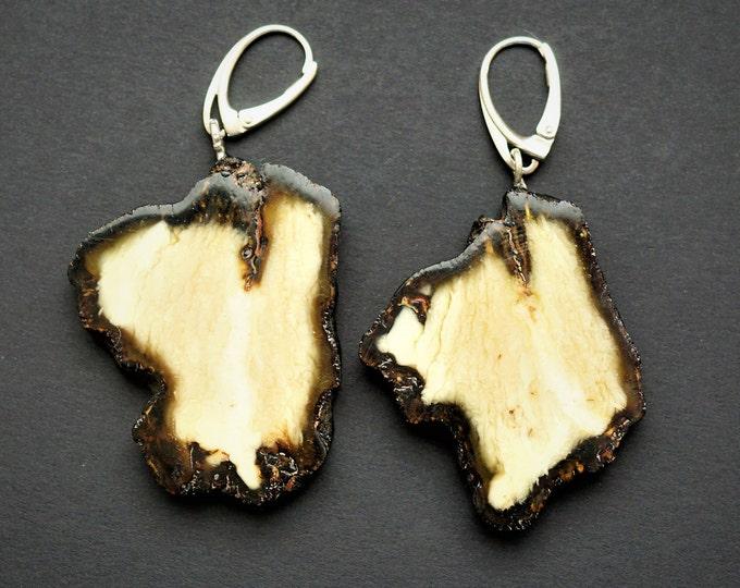 11.6g Natural Baltic Amber Earrings, White Amber Earrings, Large Earrings