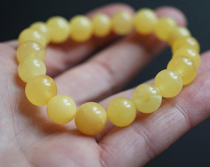 9.7g.White/Yellow Baltic Amber Bracelet, 10mm, Genuine Amber Bracelet, Beaded Bracelet, Untreated Amber, Organic, Natural