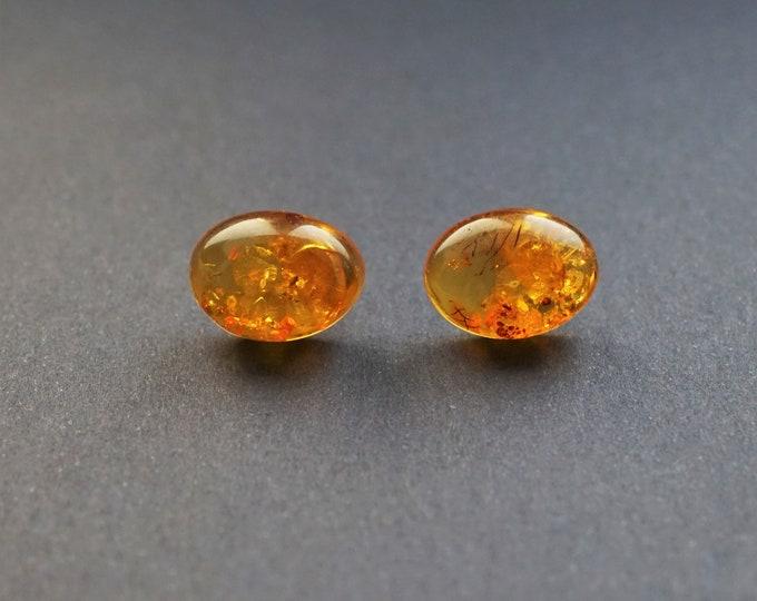 3,2g Natural Baltic Amber Stud Earrings, Cognac Amber Earrings, Gemstone Earrings, Organic, Genuine Amber
