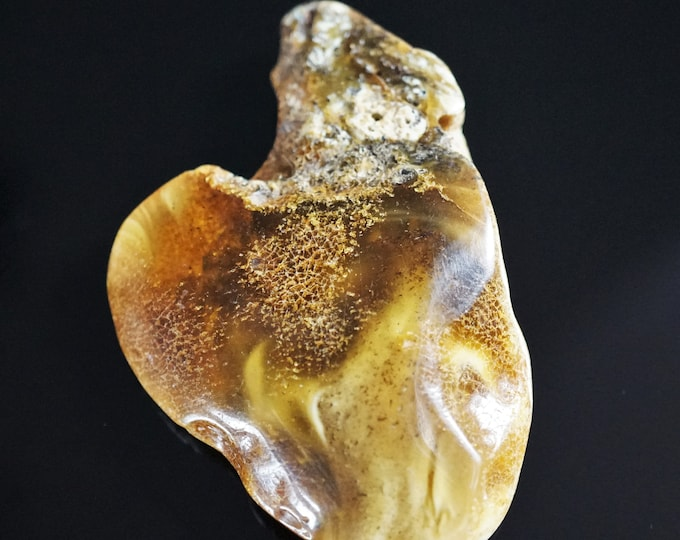 20,7g. Unique White Yellow Butterscotch Baltic Amber Stone, Genuine Not Modified Amber