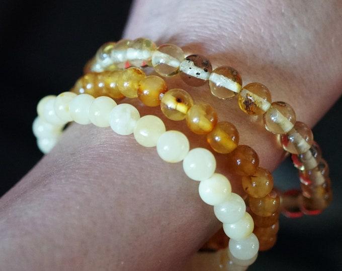 6mm. Cognac Baltic Amber Bracelet, Genuine Amber Bracelet, Beaded Bracelet, Untreated Amber, Natural