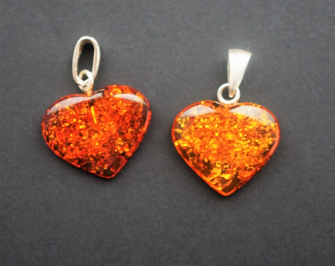3g Baltic Amber Pendants Hearts. 2 Amber Pendants Hearts.