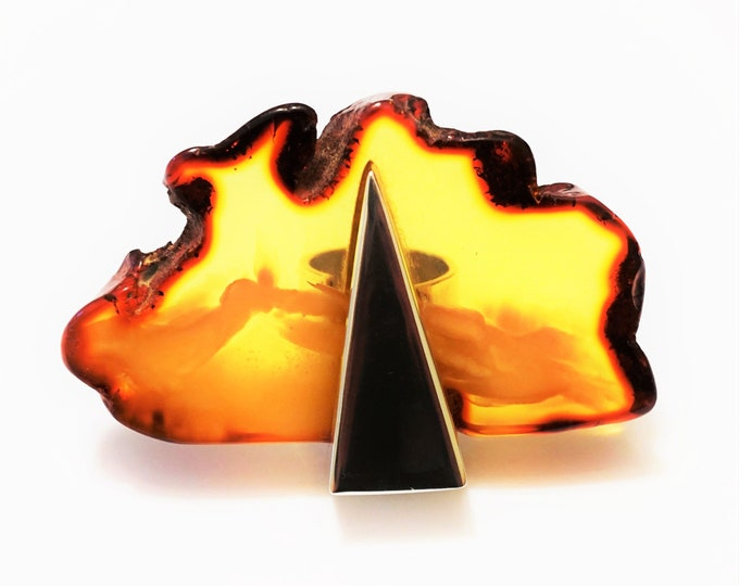 34g E. Salwierz  Design Baltic Amber Ring, Huge Ring, Artistic Jewellery, Butterscotch Cognac  Amber Ring