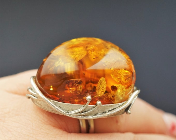 28g. Big Bold Baltic Amber Ring, Sterling Silver,Yellow, Cognac Amber Ring, Large Ring