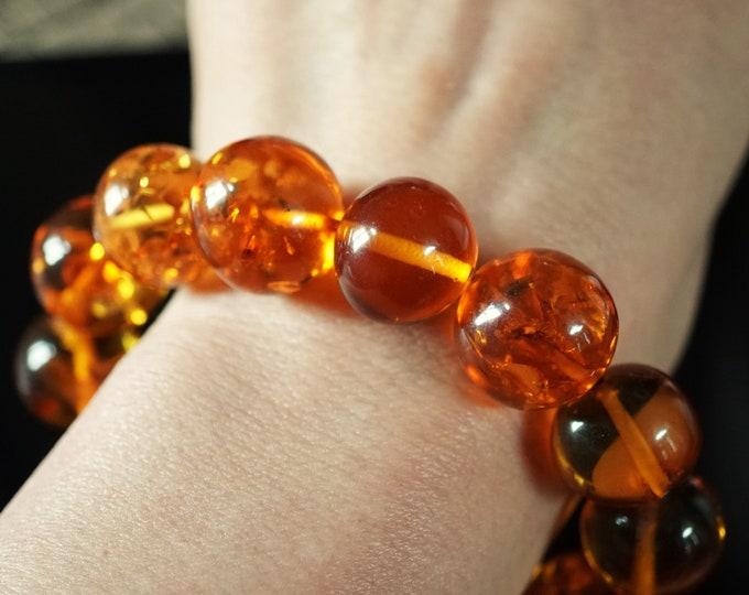 37,6 g. Large Genuine Baltic Amber Bracelet,  Not Pressed Amber, Amber Ball Bracelet, Cognac Amber