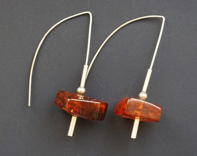 7g. Handmade Amber Long Earrings