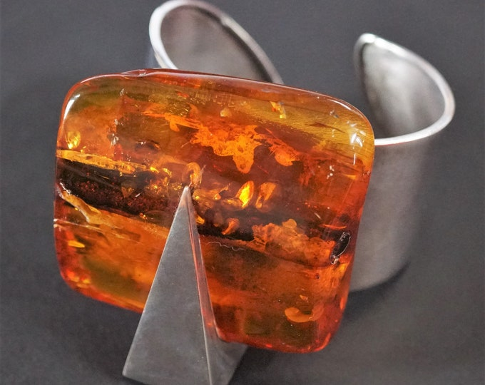 102g. Baltic Amber Bracelet, E.Salwierz Design, Honey Amber, Unique Gift , Butterscotch Amber, Modern Design